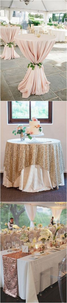 rose gold pink wedding table cloth decoration ideas