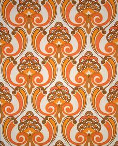 Orangeadelic Mid Century Modern designed Floral Wallpaper Vintage