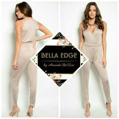 Taupe jumpsuit 95% RAYON 5% SPANDEX. Made in the USA. This jumpsuit feels so soft and luxurious. Loose, flowey fabric in beautiful beige/taupe. Cinched/belted waist. Sizes small to large. Bella Edge Boutique  Pants Jumpsuits & Rompers