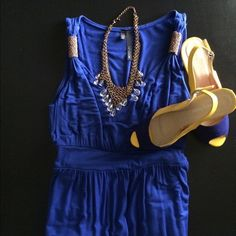 DRESS ⭐️⭐️⭐️⭐️ NAVY BLUE DRESS MAXI with on the shoulder design piece very nice n comfortable dress pull over neck NIC & DOM Dresses Maxi