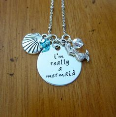 "Disney's Little Mermaid Inspired Necklace. ""I'm Really A Mermaid"". Silver colored, Swarovski crystals, for women or girls. Hand stamped. by WithLoveFromOC, $21.00 #mermaid #jewelry #necklace"