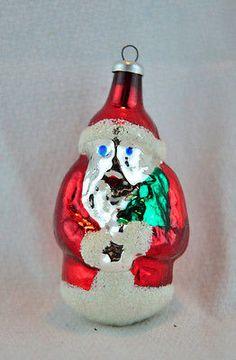 Vintage Blown Mercury Glass Santa Claus Christmas Ornament Made West Germany
