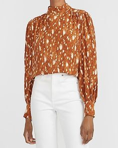 How much do you love this? I found it at Express! Express Fashion, Closet Renovation, Bold Prints, Mock Neck, Off Shoulder Blouse, White Jeans, Plus Size, My Style, Sweaters