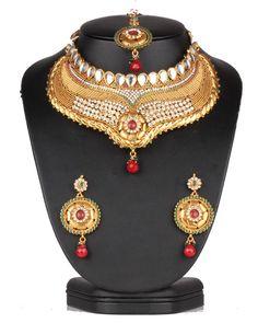 Beautiful Emerald,Ruby and clear polkistones Design Polki Bridal Gold Plated Jewelry Set-0632SMBR13 http://www.craftandjewel.com/servlet/the-1899/rhinestone-jewelry-set/Detail