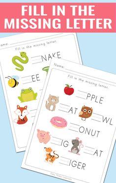 Fill in the Missing Letter Worksheets for Kindergarten and Grade 1