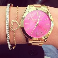Micheal Kors watch Pink= My Bday watch. http://thegoodbags.com/ ,,Oh. My. God. I ADORE this mk bags. save up to 75%
