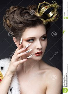 Beautiful Girl In The Image Of The Queen In The Mantle With A Crown On The Head And Long Nails. Beauty Face. Stock Image - Image: 50034665