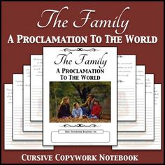 LDS Notebooking: The Family: A Proclamation To The World Copywork Notebook - Cursive