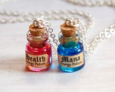 Mana and Health BFF necklaces potion in a bottle geekery by Zoozim, $24.00