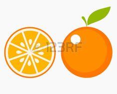 orange: Orange fruit with leaf and slice. Vector illustration