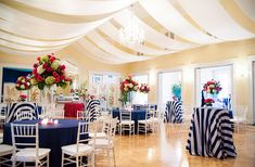 Rent navy and white stripe tablecloths for your cocktail tables. A Classic Nautical Pink and Navy Wedding Cocktail Table Decor, Cocktail Tables, Hotel Reception, Wedding Reception, Wedding Sparklers, Wedding Programs, Wedding Bands, Wedding Invitations, Church Wedding Decorations