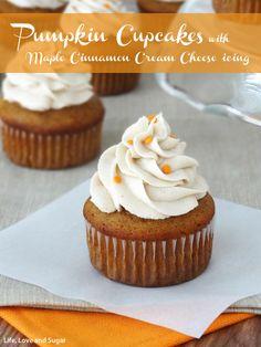 Pumpkin Cupcakes with Maple Cinnamon Cream Cheese Icing cinnamon cream ...