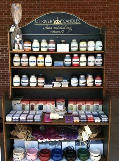 CT River Candles logo looks great on a reclaimed Yankee Candle hutch.