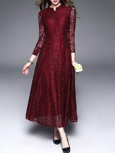 Shop Midi Dresses - Burgundy 3/4 Sleeve Crocheted Midi Dress online. Discover unique designers fashion at StyleWe.com.