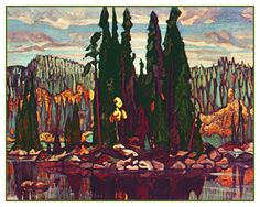 A Story of Canadian Art: As told by the Hart House Art Collection - Arthur Lismer, Isles of Spruce, Oil on canvas, 136 x 179 cm. Hart House Art Collection, University of Toronto. Canadian Group of Seven Group Of Seven Artists, Group Of Seven Paintings, Emily Carr, Canadian Painters, Canadian Artists, Tom Thomson Paintings, Ontario, Canada Landscape, Landscape Art