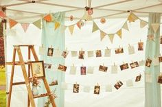 love this idea for displaying pictures of the bride and groom at all ages