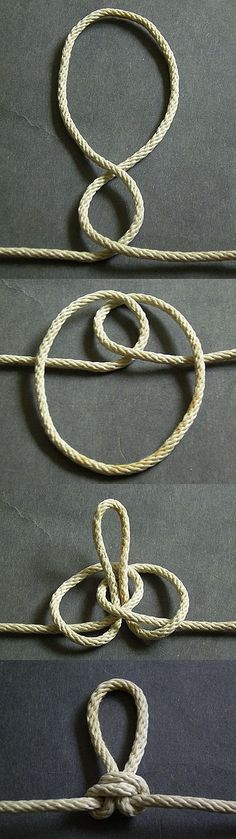 Butterfly loop is perhaps the easiest to remember how to tie correctly. Start by simply making two twists in the same direction to form the two loops. Then wrap the outer loop around the standing part and pull it through the hole of the inner loop. Rope Knots, Macrame Knots, Diy Jewelry, Jewelry Making, Hemp Jewelry, Jewelry Knots, The Knot, Loop Knot, Paracord Projects