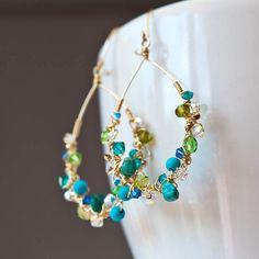 Bejeweled Teardrops aretes de oro de llenos en por Mayahelena
