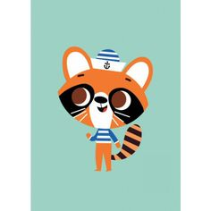 Racoon postcard or mini print by Tiago Americo for Petit Monkey