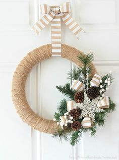 Burlap Christmas decorations are ideal for a Rustic Christmas decor or Farmhouse Christmas decor which is cozy & cute. Best Burlap Christmas ideas are here. Burlap Christmas Decorations, Christmas Wreaths To Make, Noel Christmas, How To Make Wreaths, Holiday Wreaths, Christmas Crafts, Elegant Christmas, Winter Wreaths, Homemade Christmas