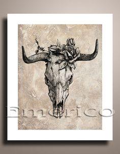 Drawing Art PRINT Poster Bull Skull and Rose by EmericoArtPrint