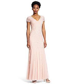 32cd88767a3 Adrianna Papell Beaded Lace V-Neck Godet Gown