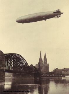 """LZ129 """"Hindenburg"""" flying above Cologne"""