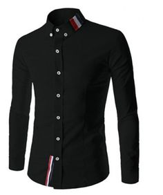 Stylish Shirt Collar Slimming Buttons Design Stripes Splicing Long Sleeve Polyester Shirt For Men Note: Please checksize tabbefore ordering! Shirts Type - Ca