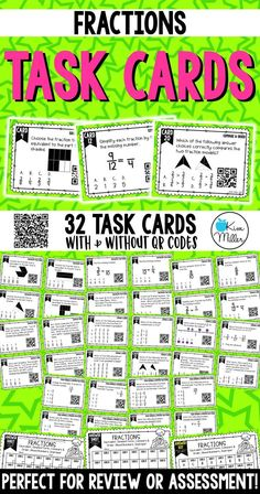 Grab these 32 Fractions Task Cards which include equivalent, simplest form, compare and order, mixed numbers, and improper fractions to help your students review fractions. Perfect for review, Scoot game, math center, assessment tool, or test prep!