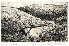 From Seneca Point. Zinc plate etching by Pittsburgh Printmaker Thomas J. Norulak. Sells on Etsy. http://www.etsy.com/shop/printsnat