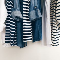denim and striped tops #style #fashion #stripes