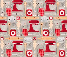 Baking stuff fabric by verycherry on Spoonflower - custom fabric would be good for curtains in my red themed kitchen!