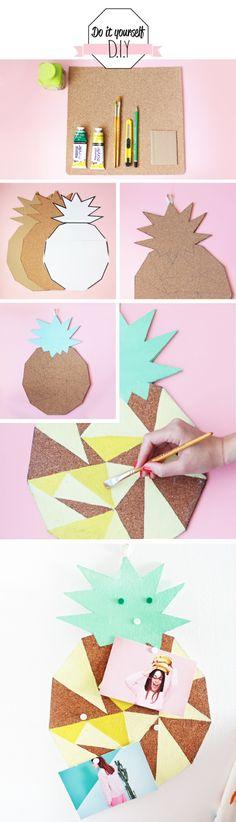 pinnwand selber machen, farbe, pinsel, cutter, bleistift, ananas