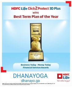 """We are happy to share HDFC Life Click 2 Protect 3D Plus wins """"Best Term Plan of the Year"""" award at Business Today - Money Today Financial Awards 2019.   This is the Life Insurance Plan recommended by us to clients for ensuring proper life cover  www.dhanayo.ga/life-insure.html Life Cover, Service Awards, Money Today, Life Insurance, The Life, 3d, How To Plan, Business, Happy"""
