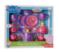 Peppa Pig Tea Set 1680435 Have a Peppa Pig tea party for four!Set includes: tea pot with lid, sugar bowl with lid, milk jug, 4 cups, 4 saucers and 4 teaspoons. New, fun Peppa Pig design.Suitable for ages 3 years. :: Customer R http://www.comparestoreprices.co.uk/childs-toys/peppa-pig-tea-set-1680435.asp