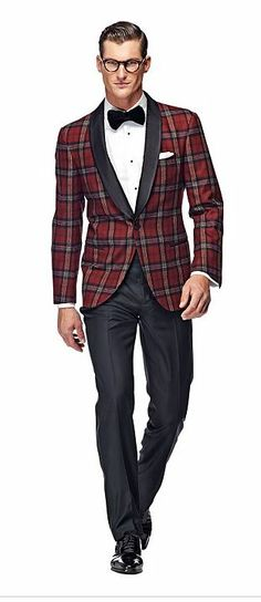 suitsupply smoking jacket red check