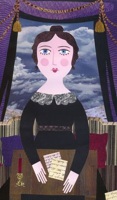 'But She Remained, Always, Profoundly Sad' (cut paper collage) by Amanda White www.amandawhite-contemporarynaiveart.com