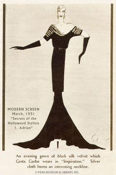 Gilbert Adrian design for Greta Garbo in Inspiration, 1931 Modern Screen Magazine, March 1931 Image courtesy of Richard Atkins FIDM Museum