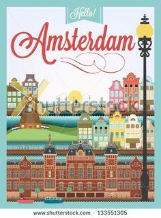 Vintage Travel Poster - Amsterdam - Google Search