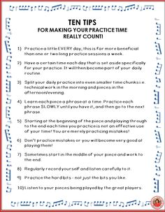 TEN Practice Tips for young musicians! FREE download. Great to place in the front of your students' music folder! ♫ CLICK through to download your copy! ♫