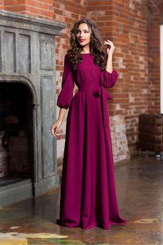 Вечернее фиолетовое платье с рукавами фонариком Avbusto