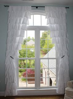 Custom Made Ruffle Curtains by TheCrookedBranch on Etsy