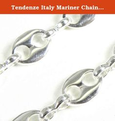 """Tendenze Italy Mariner Chain Necklace, Silver Plated, Width 5.5mm, Length 55cm/21.65"""", Directly From The Italian Factory. Mariner Chain Necklace, silver plated, high gloss finished, the original italian mariner chain, protected against tarnish finest jeweller quality, made in Italy."""