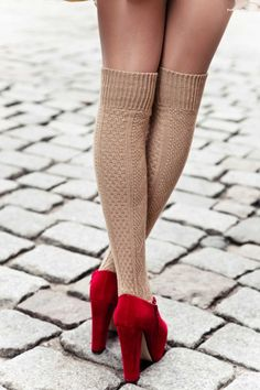 Get the look with HUE cable knit knee hi's (similar) and statement pumps. #HUELovesShoes