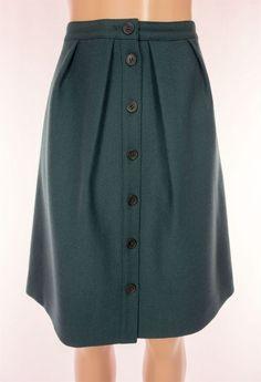 J CREW Flair Skirt Size 4 S Small Deep Green Double Serge Wool Career Work #JCrew #ALine