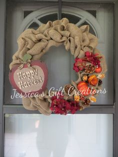Happy Harvest Burlap Wreath/Fall Decor/Home Decor/Door Decor/Pumpkins/Autumn Flowers/Love Fall/Perfect Anytime Gift/Ready to Ship by JessicasGCreations on Etsy