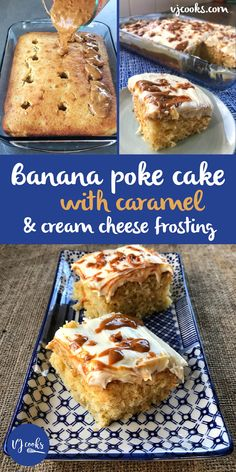 This easy and delicious banana caramel cake with cream cheese icing is based on the American Poke cakes. Caramel Poke Cake Recipe, Poke Cake Recipes, Poke Cakes, Dessert Recipes, Desserts, Caramel Banana Cake, Caramel Frosting, Cream Frosting, Yummy Recipes