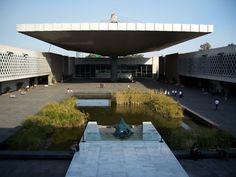 The center courtyard and water feature at #Mexico's National Museum of Anthropology and History. A pool with papyrus reed and a spectacular pillar fountain.