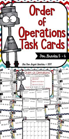Order of Operations Task Card Set - Grades 5 - 6. 28 Task Cards, Anchor Chart, Differentiated Practice Pages and Answer Keys! Print and Go!