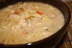 Lazy Slow Cooker Creamy Chicken Noodle Soup. Delicious chicken noodle soup with cream of mushroom in the mix!